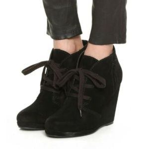 Dolce Vita Black Suede Lace Up Wedge Booties 8.5